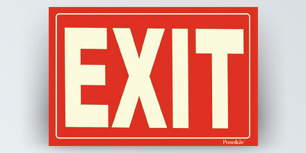 EXIT, 12 x 8 in, red background