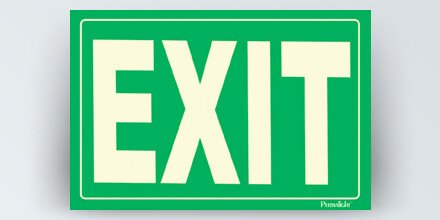 EXIT, 12 x 8 in, green background