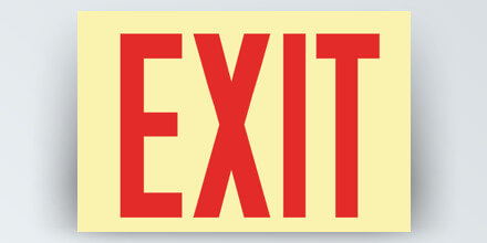 EXIT, 12 x 8 in, reflective, red letters