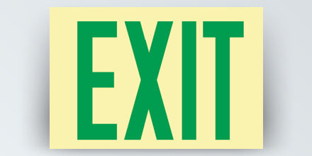 EXIT, 12 x 8 in, reflective, green letters