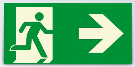 Man running + Arrow right