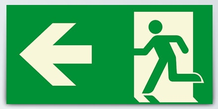 Arrow left + Man running
