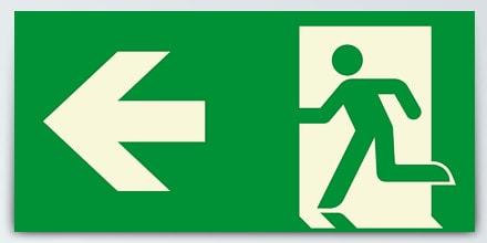 Arrow left + Man running