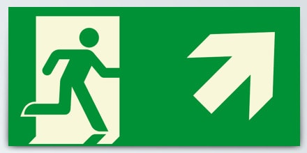 Man running + Arrow right up