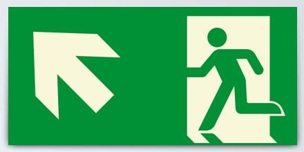 Man running + Arrow left up