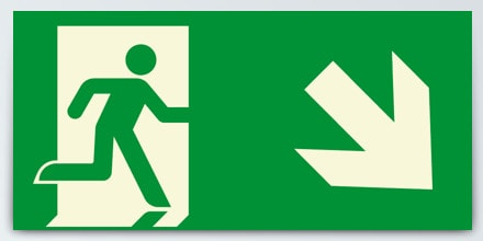 Man running + Arrow right down