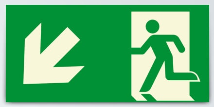 Man running + Arrow left down