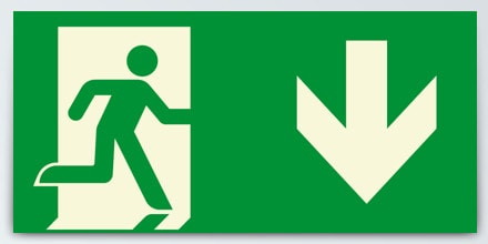 Man running + Arrow down