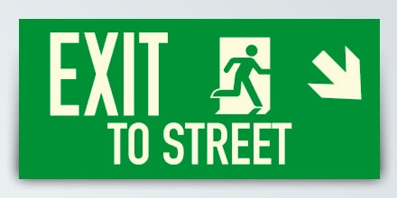 EXIT TO STREET + Arrow right down