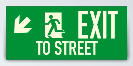 EXIT TO STREET + Arrow left down