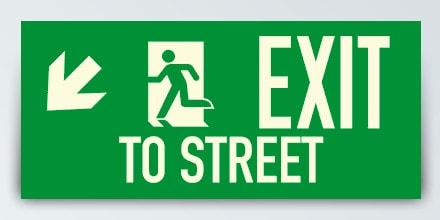 EXIT TO STREET + Arrow left down