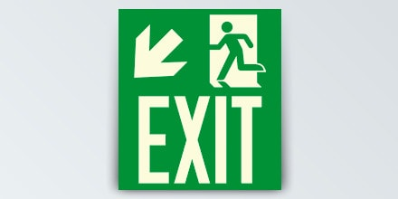 Arrow left down + Man running + EXIT