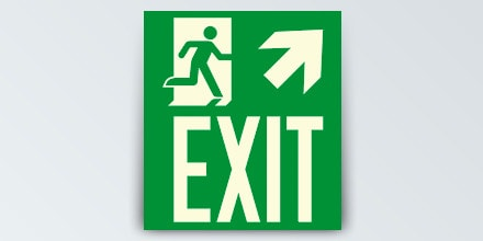 Man running + Arrow right up + EXIT