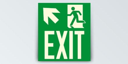 Arrow left up + Man running + EXIT