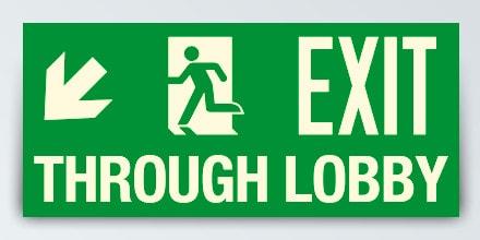 EXIT THROUGH LOBBY + Arrow left down