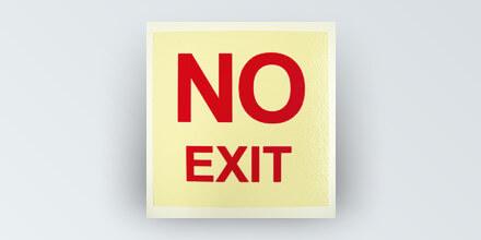 NO EXIT sign, ridig PVC