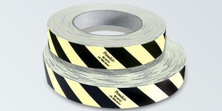 Photoluminescent / Contrast black obstacle marking polyester thin tape with self-adhesive backing