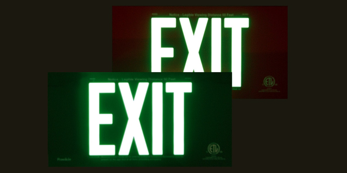 EXIT Signs Demo: Lights Off