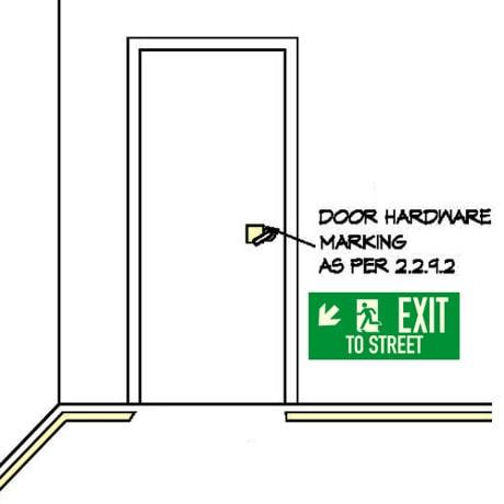 Drawing: Showing door with handle