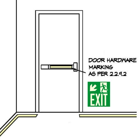 Drawing: Showing door with push bar